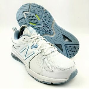 New Balance 857 v2 Running Shoe white/blue EUC!